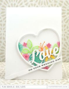 Wedding Day Heart Card by Nichole Heady for Papertrey Ink (December Wedding Anniversary Cards, Wedding Cards, Card Making Templates, Valentine Love Cards, Quilling Cards, Shaker Cards, Heart Cards, Scrapbook Cards, Scrapbooking