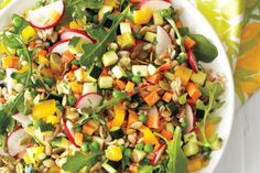 Super Summer Whole Grain Salad. Packed with vegetables, we know why this salad is so good for you!