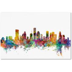 Michael Tompsett 'Houston Texas Skyline' Canvas Wall Art (115 CAD) ❤ liked on Polyvore featuring home, home decor, wall art, canvas painting, colorful wall art, colorful paintings, landscape wall art and london skyline painting