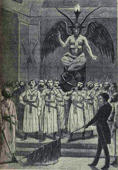 Leo Taxil, Baphomet at a Freemason ritual, 1890 Baphomet, Magick, Witchcraft, Walt Disney, Scratchboard Art, Religion, Ancient Mysteries, Freemasonry, Knights Templar