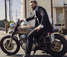 I'm kinda liking this....in a suit on a motorcycle...the grungier the motorcycle the better!