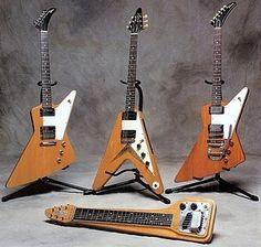 Slashs Gibson Flying V & Explorer guitars