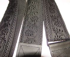 Black Floral Embroidered Trim GUITAR STRAP by ScentedSoftandSewn