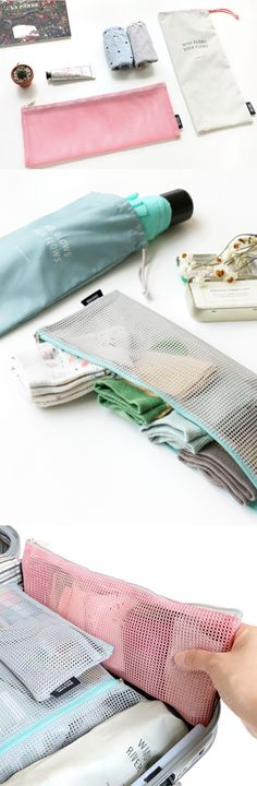 Need to pack long items for travel? Look no further than Long Mesh Pouch Set! These pouches will help you pack and carry the items conveniently to keep your luggage stay organized!