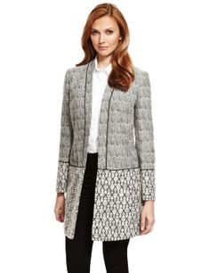 M&S Collection Geometric Print Longline Jacket