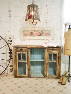 Painted Cottage Chic Shabby Hand Made Farmhouse Cabinet [SV302] - $595.00 : The Painted Cottage, Vintage Painted Furniture