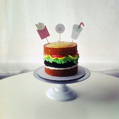 burger cake with fries and soda  @Lyndsay Sung // Coco Cake Land
