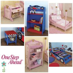One Step Ahead's new KidKraft kids furniture, including kids racecar and princess beds, side tables and nightstands and bookshelves.  Super sturdy & perfectly proportioned for kids!