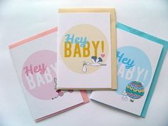 Hey Baby! - Greeting Card 3 Pack by Pocket Carnival