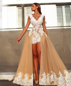 dbab556caf Lazacos Womens Sexy VNeck Lace Applique Open Back Champagne Detachable  Wedding Dress US8    Would