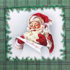 Vintage Mid Century Christmas Greeting Card Santa Hat List | eBay #vintagegreetingcards