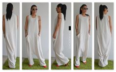Jumpsuit Maxi White / White jumpsuit femme / Oversize combinaison / blanc plus combinaison taille / femme lâche jumpsuit