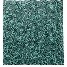 Black Lace Lacy-Look Design Shower Curtain