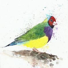 Original painting watercolor tropical bird 8x8  by YuliaShe, $54.00