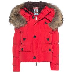 DSQUARED2 Short Down Red // Short down jacket with fur lining ($2,065) ❤ liked on Polyvore featuring outerwear, jackets, feather jacket, collar jacket, down jacket, fur jacket and slim jacket