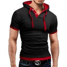 2016-Hombre-Slim-Fit-Manga-Corta-Sudadera-Gym-Capucha-Informal-Camisa-Camiseta