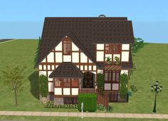This is the second house in my Small Street series. Sims 2 House, Medieval Furniture, Casas The Sims 4, House Plans, Floor Plans, Cabin, Street, Architecture, House Styles