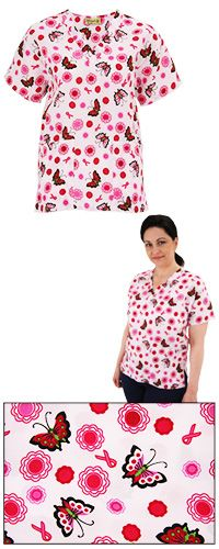 Butterfly Blush Pink Ribbon Scrub Top at The Breast Cancer Site