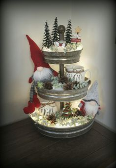 Rae Dunn christmas tier display