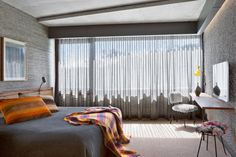 Tour the Amazing Guest Rooms of Australia's Chicest Hotel via Hotel Hotel Canberra, Modern Hotel Room, Luxury Hotel Design, Grey Bedroom With Pop Of Color, New York Hotels, Hotel Interiors, Bedroom Decor, Bedroom Kids, Living Spaces
