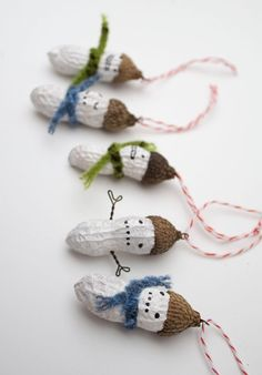 3 Mini Holiday Ornaments - funny painted snowman peanuts. $16.50, via Etsy.