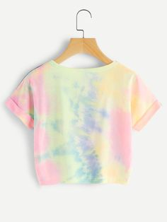 May 2020 - Cuffed Sleeve Crop Pastel Tie Dye Tee – TopFashionova Tie Dye Outfits, Crop Top Outfits, Cute Casual Outfits, Tomboy Outfits, Casual Tie, Emo Outfits, Pastel Shirt, Pastel Tie Dye, Tie Dye Shirts