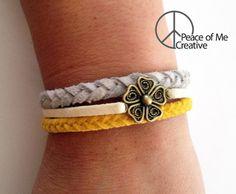 Layered Yellow Cream and Grey Bracelet