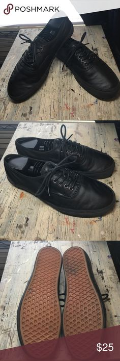 Black all leather Vans Black all leather Vans. Excellent condition. Men\'s 10/Women\'s 11.5 Vans Shoes Sneakers