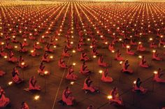 Hundreds of monks celebrate Buddha during the Makha Bucha festival, Thailand, 2013