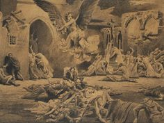 Emil Holárek The Plague, 1905 End Of An Era, Prince, Illustration Sketches, Mount Rushmore, Grand Canyon, Mountains, Nature, Travel, Painting