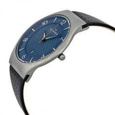 Skagen Grenen Blue Dial Perforated Back Leather Men's Watch SKW6148