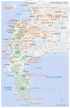 Cape Town attractions map showing the most popular attractions, destinations and sites of interest in Cape Town, South Africa . Cape Town Tourism, National Botanical Gardens, Cape Town South Africa, Beach Trip, Beach Travel, African Countries, Vacation Places, Olympic Peninsula, Okinawa Japan