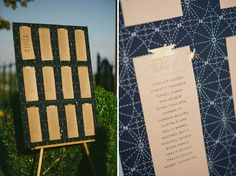 Astronomy Inspired Wedding: Sierra + Martin.  Table seating chart navy and gold