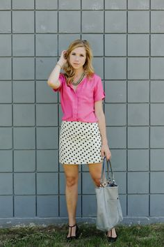 polka dot pencil skirt :: sidewalk ready - pretty in pink; I just love dots on a woman. You need to check out this blog ladies. Great fashion ideas and a very special look at life.