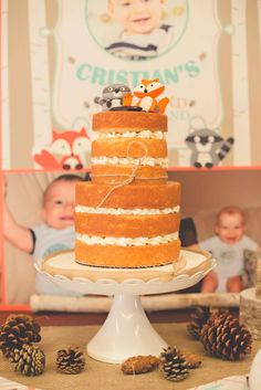 Layered naked cake at a woodland birthday party! See more party planning ideas at CatchMyParty.com!