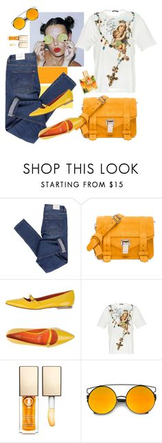 """Untitled #20"" by tato-eleni ❤ liked on Polyvore featuring Cheap Monday, Proenza Schouler, Saint-Honoré Paris Souliers, Dolce&Gabbana, Clarins and Malie Organics"