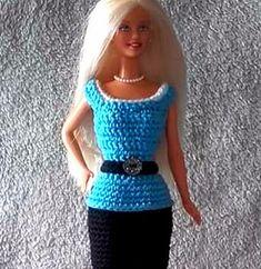 Handmade by Ann - gratis patroontjes Crochet Doll Dress, Crochet Barbie Clothes, Doll Clothes, Barbie Clothes Patterns, Clothing Patterns, Free Crochet, Knit Crochet, Accessoires Barbie, Knitting Patterns