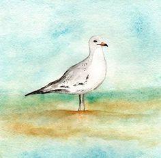 Tranquility/Seagull/ Blue GreenGrey Teal Aqua by kellybermudez, $20.00