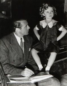 Gary Cooper and Shirley Temple. Behind the scenes of Now and Forever, 1934.