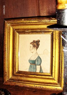 1810 style profile of a young woman in early frame by Steve Shelton. (SOLD)