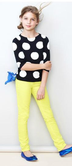 kids fashion, girls fashion, polka dots too cute my nine year old would go crazy over the yellow pants