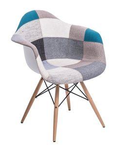 Krzesło P018W inspirowane DAW patchwork niebiesko-szary , cena: 419,00 zł, Nowoczesne Krzesła  tapicerowane , D2. www.dkwadrat.pl