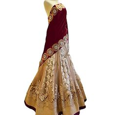 Fab Glory Women's Maroon Beige Colored Embroidered Net Velvet Lehenga Choli >>> Want to know more, click on the image.