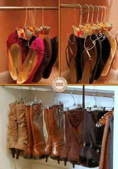 "Although a woman can NEVER have too many shoes, it's sometimes hard to store and then find the pair you need NOW! What do you think of these two ideas? BTW, we have more interesting storage ideas for you on our ""Home Storage"" album at http://theownerbuildernetwork.co/ideas-for-your-rooms/home-storage-gallery/storage-ideas/ Feeling inspired?"