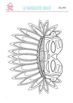 Pour le carnaval, notre illustratrice AstridM (que vous pouvez retrouver sur le blog de Momes.net) a dessiné ce superbe masque d'indien d'Amérique pour enfants à imprimer et à colorier. Vos ptits mômes pourront jouer aux cowboys et aux indiens en poussant des cris de sioux ! Sioux, Kids Wigwam, Recycled Paper Crafts, Cultural Crafts, Printable Numbers, Princess Coloring, Baby Drawing, Indian Crafts, Indian Party