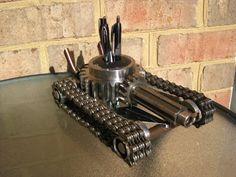 Tanque de Hot Rod escultura en Metal por GeargoyleMetalArt en Etsy