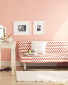 Futon in #coral and #chevron http://rstyle.me/n/gvn49nyg6