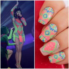 Katy Perry Brit Awards 2014 Dark Horse Inspired Neon Tribal Nails | Lacquerstyle | kgrdnr  #nailart #nailpolish #nails #naildesigns #katyperry #neon #neontribal #tribalnails #chinaglaze #essie #julep #colorclub #lacquerstyle #kgrdnr