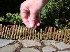 Save your prunings so you can make awesome little twig fences for your fairy garden.
