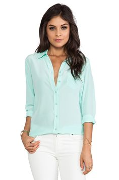 Equipment Brett Vintage Wash Blouse in Ice Green from REVOLVEclothing
